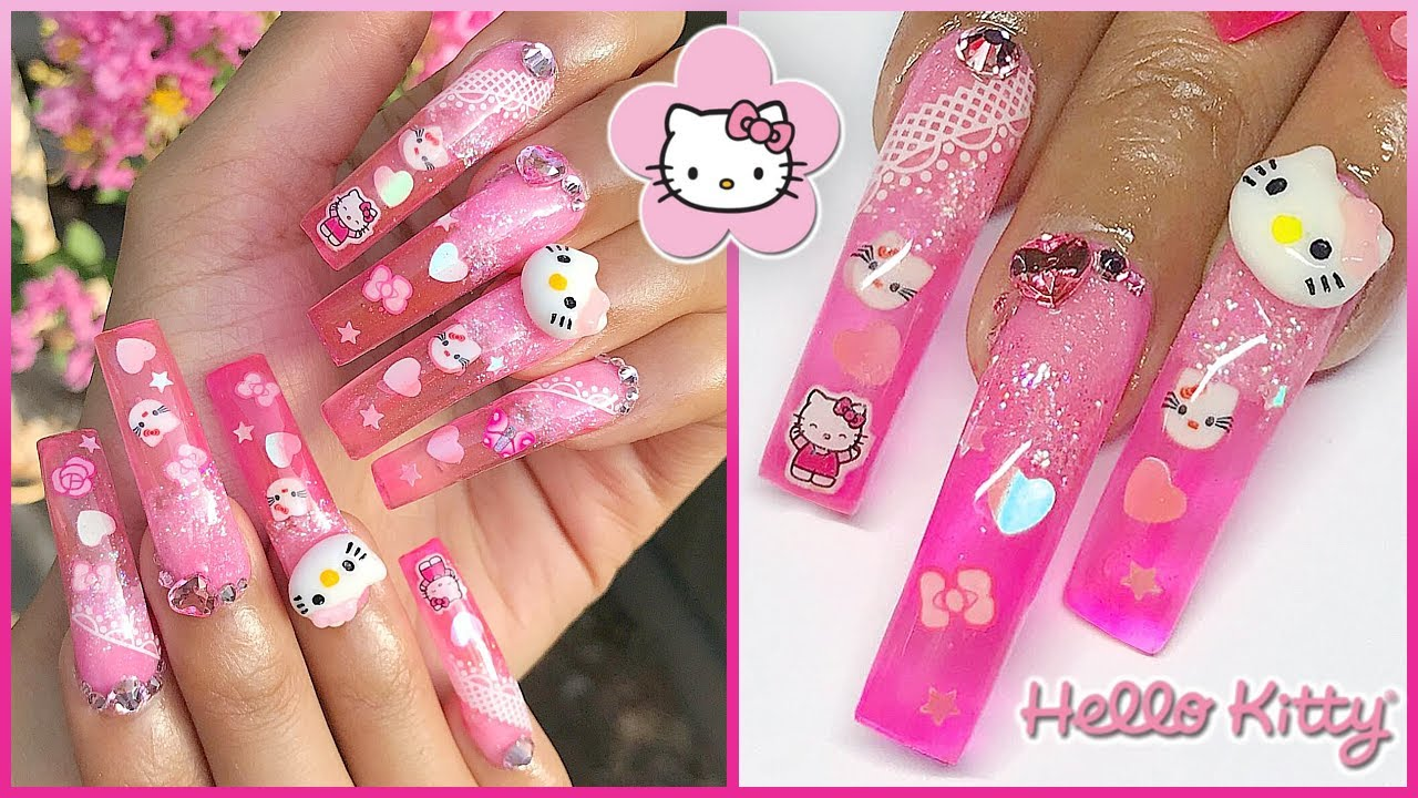 Watch Me Do My Nails! Hello Kitty Pink Jelly Glitter Bling ...