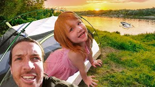CAMPiNG at the LAKE!! Fiŗst Time Tent with Adley at PiRATE iSLAND! swimming, mermaid, camp routine!