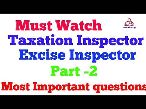 Taxation Inspector  Excise Inspector  HSSC most important questions