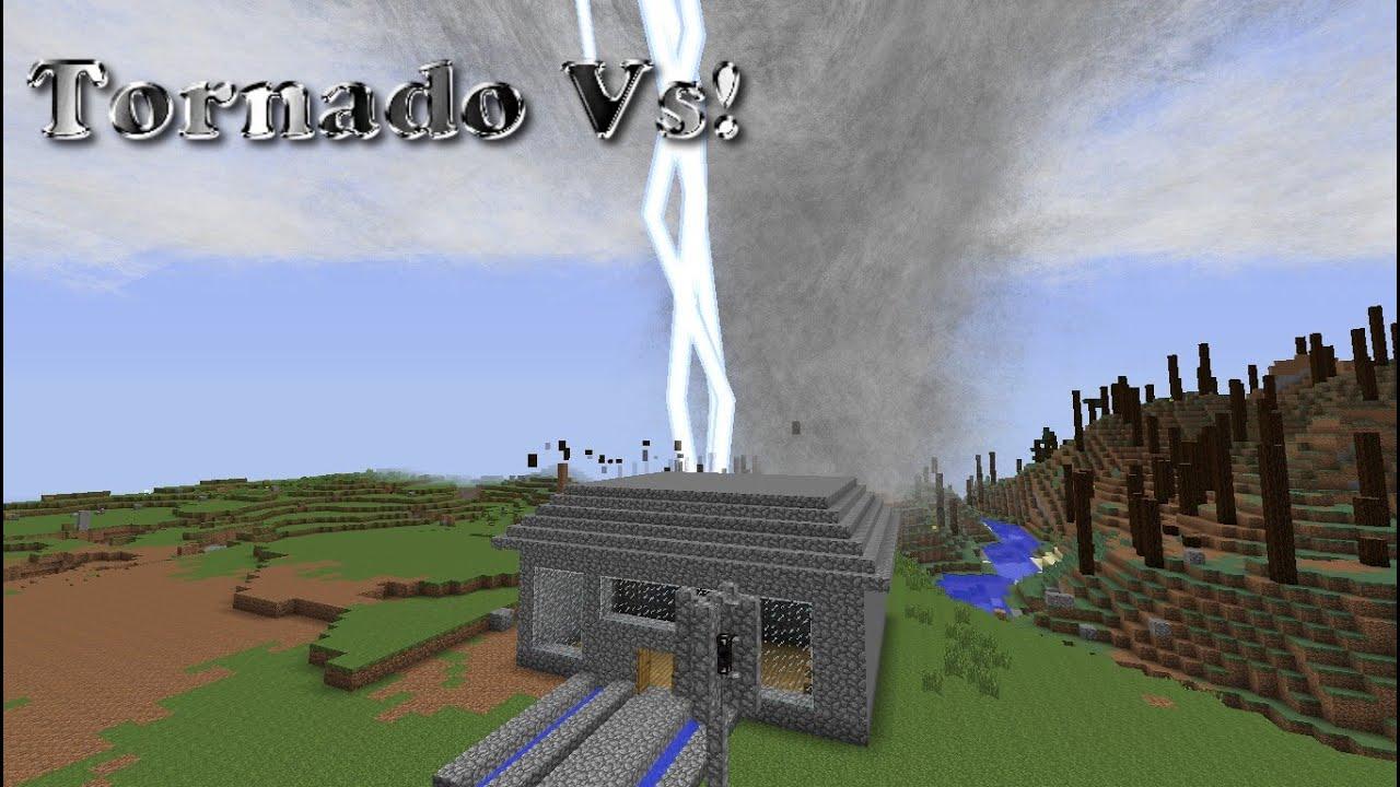 Minecraft Tornado Vs CobbleStone House