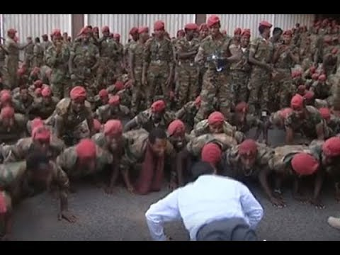 Ethiopia Prime Minister does press-ups with protesting soldiers