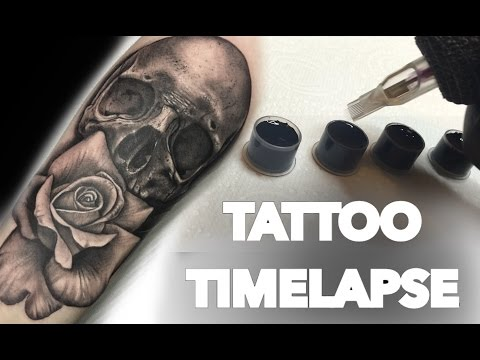 TATTOO TIME LAPSE / SKULL AND ROSE PORTRAIT
