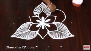 simple & easy flower rangoli design with 7x4 dots * small daily kolam * new muggulu
