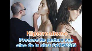 Proceso de pintura de la obra CATARSIS - Pintor Omar Ortiz - Oleo sobre lino