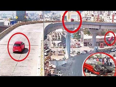 OMG 😭😭😭😭CAR ACCIDENT||CAR FALLS OFF FROM FLYOVER||LIVE ACCIDENT IN HYDERABAD||GACHIBOWLI