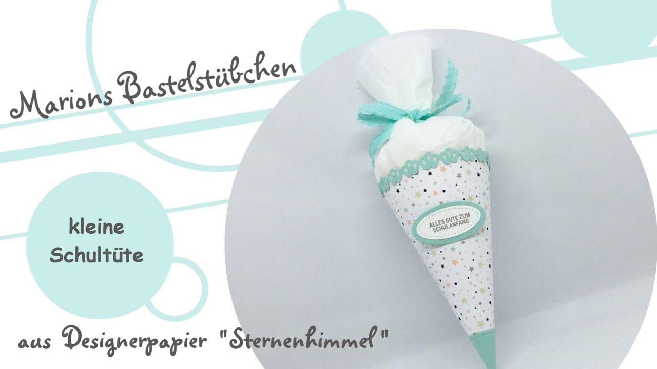 Kleine Schultüte Aus Designerpapier Sternenhimmel Von Stampin Up
