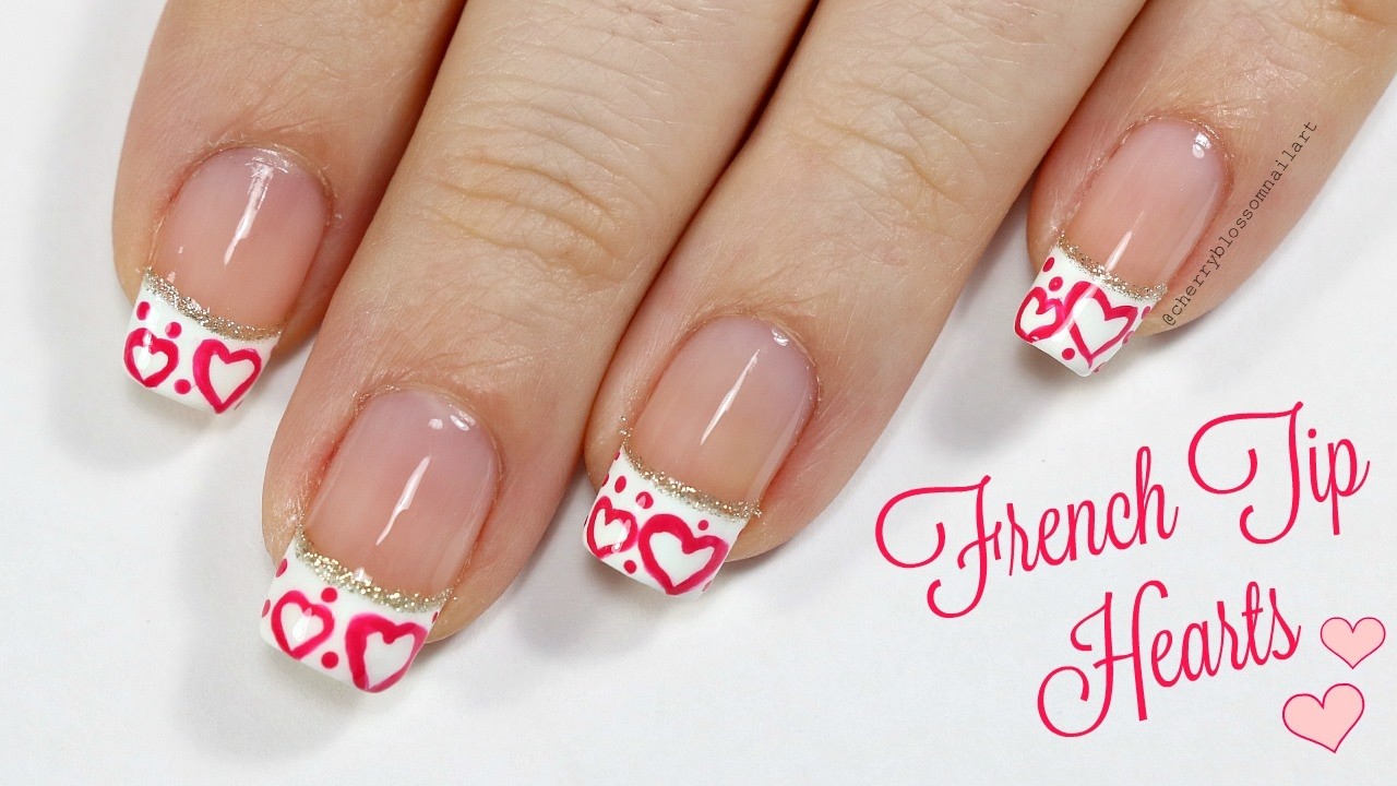Easy French Tip With Hearts Valentine\'s Day Nail Art Design! - YouTube