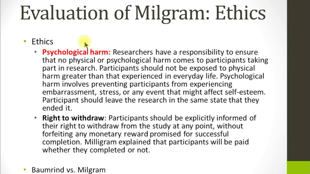 milgrams studies on obedience and the ethical problems Long-term psychological harm to participants - some participants reported psychological problems following the traumatic events of the study there was also no period of debriefing following experiments, increasing the likelihood of psychological harm.