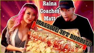 How to do a Burrito Challenge - Raina Coaches Matt(Wreckless Eating) - The 8lb TeeTanic Burrito