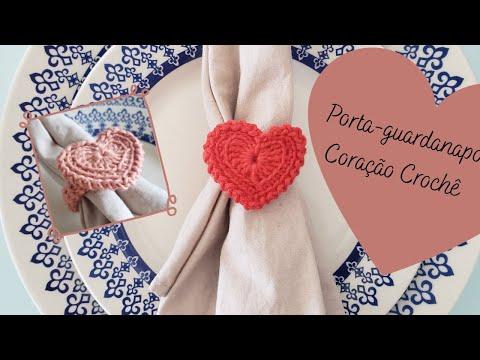 Passo a passo: Porta-guardanapo Coração Crochê (especial dia dos namorados)
