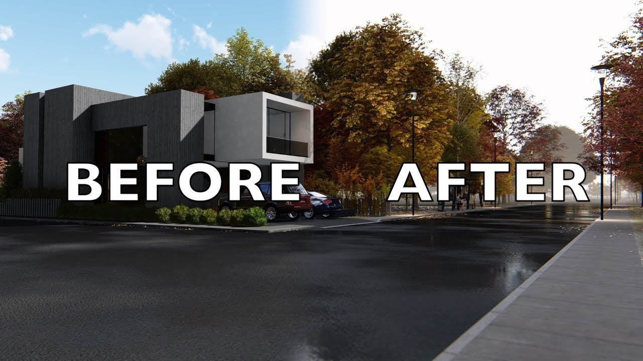 Lumion 8 before after render tutorial modern house5