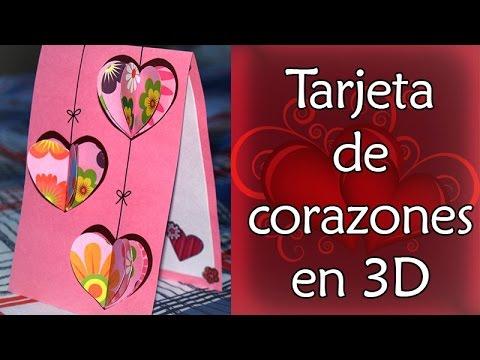 Como hacer tarjeta de corazones tridimensionales san - Corazones de san valentin ...