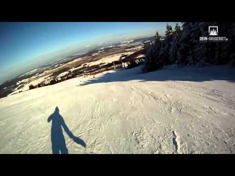Skigebiet Wasserkuppe, Rhön: Kamerafahrt Panorama-Abfahrt
