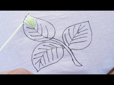Hand embroidery leaf stitch design tutorial , fly stitch and bead stitch thumbnail