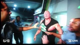 huge fight in the backstage between the undertaker vs brock lesnar