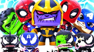 Marvel Avengers DeadPool, SpiderMan, Hulk, Captain Battle Thanos Vs Venomized Avengers #Toymarvel
