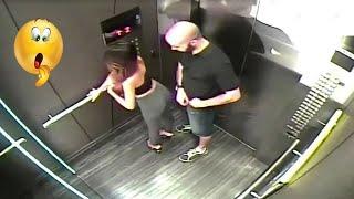 لم يكونو على علم بوجود الكاميرات في المصعد !! وفعلو أشياء غريبة ومحرجة