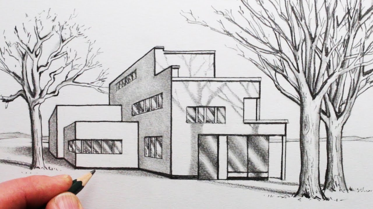 How to draw a house in 1 point perspective with trees and shadows