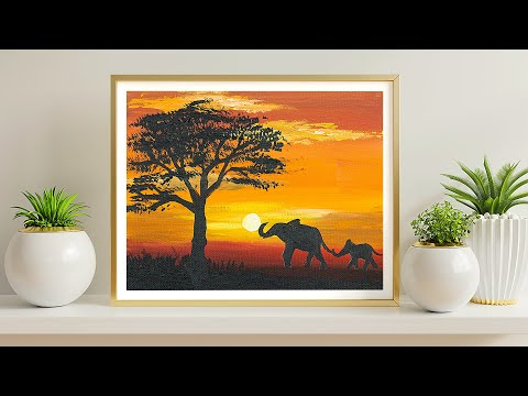 AFRICA SUNSET | Easy Acrylic Painting For Beginners | Five Fingers Art