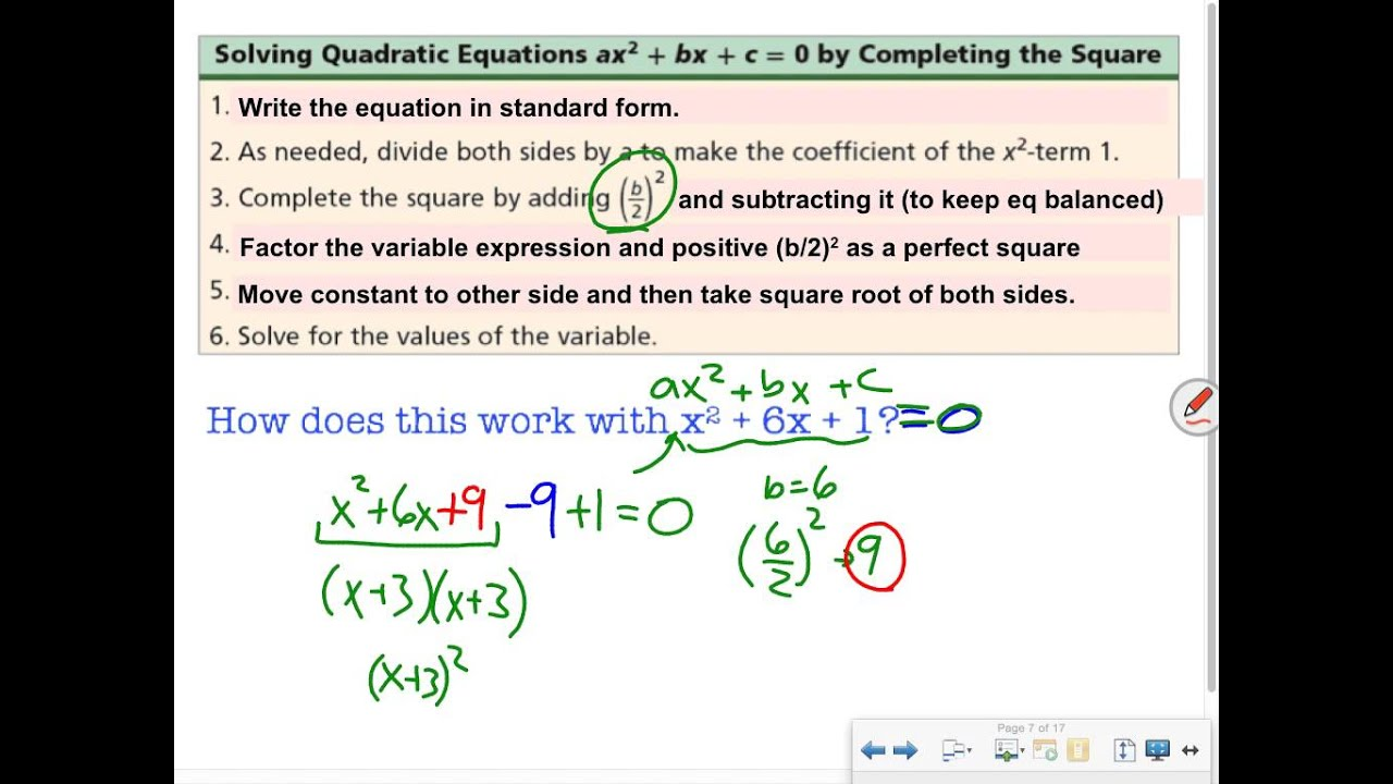 Completing The Square Definition