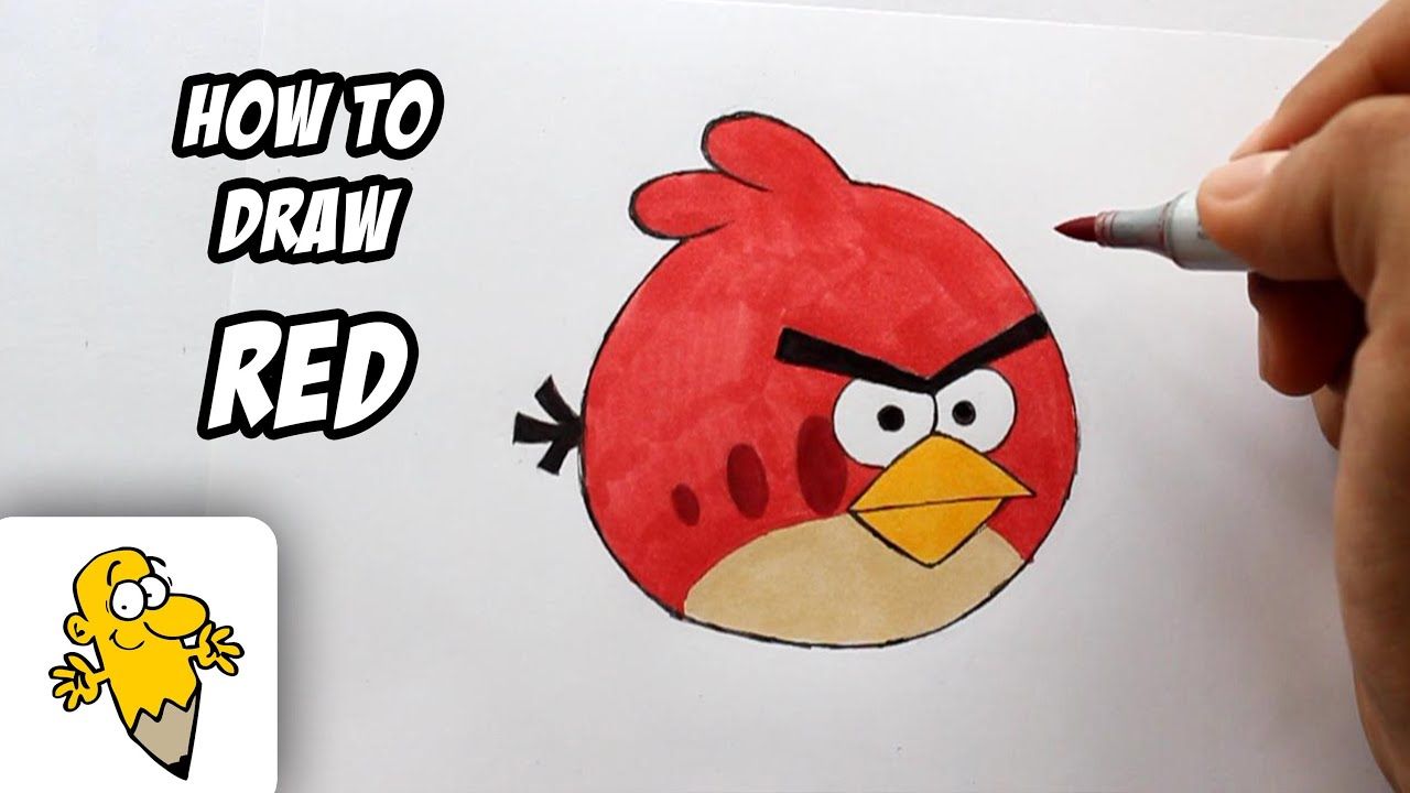 "How To Draw ""Red"" [Angry Birds] Drawing Tutorial"