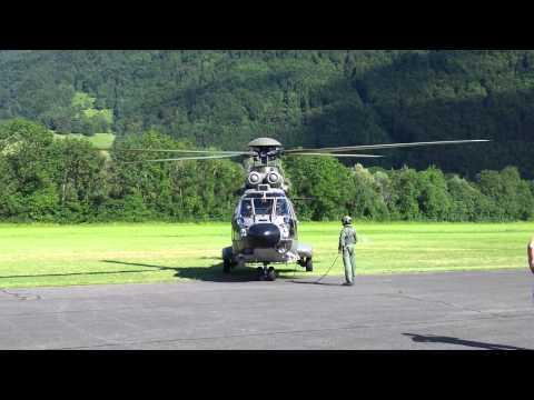 50 Ans Aérodrome De La Gruyères  Décollage Super Puma Et EC 635 11.08.2013