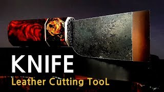[ Leather Knife ] cutting tool / Rail steel Forging