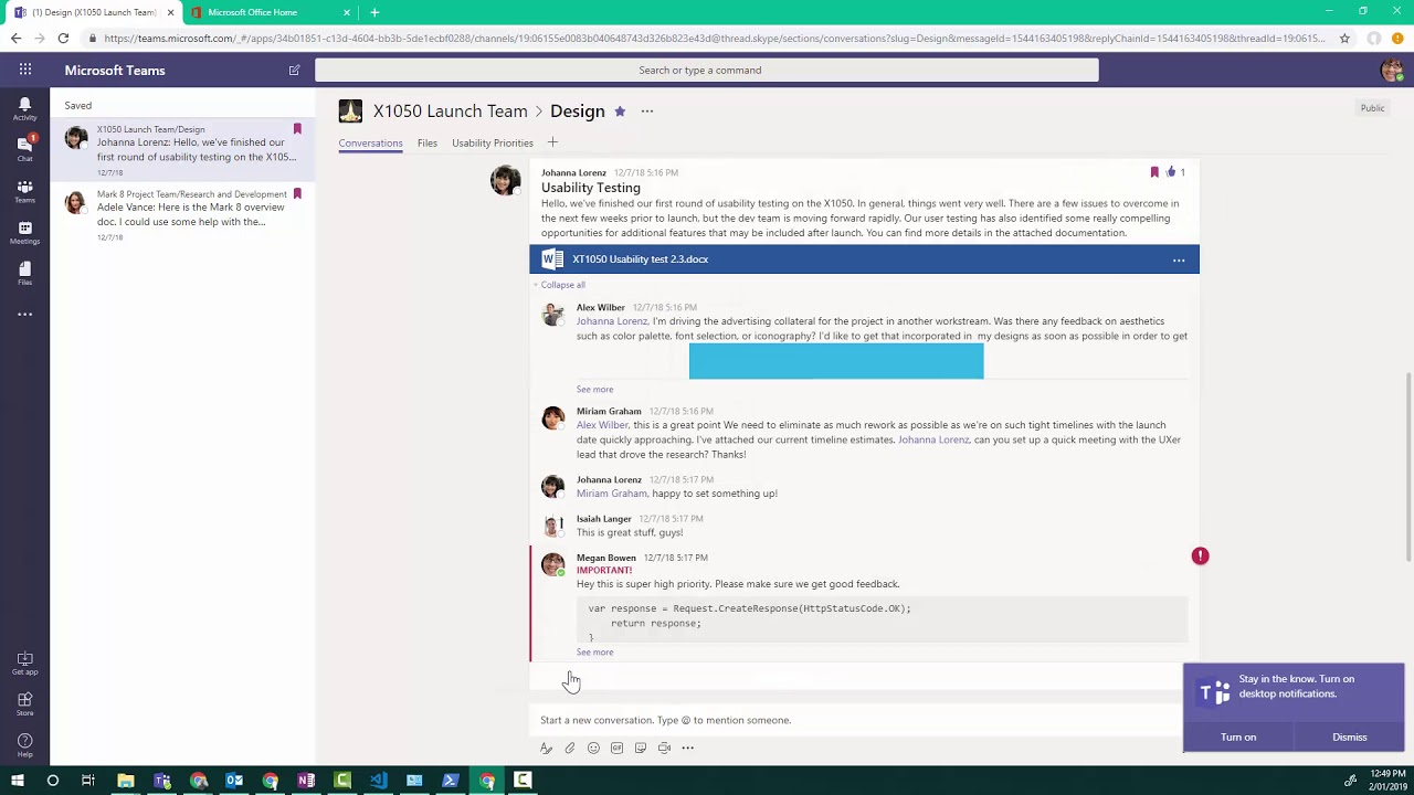 A Microsoft Teams command to save you time when you return