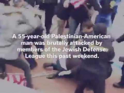 JDL terrorists attack Palestinian American at Pro Palestinian anti AIPAC Protest