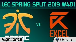 FNC vs XL Highlights LEC Spring Split 2019 W4D1 Fnatic vs Excel Esports By Onivia