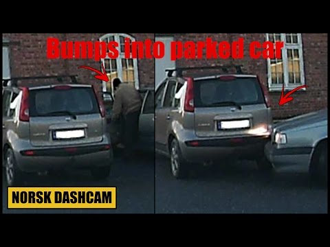 Parked car rammed by old man in a Volvo - Steinkjer, Nord-Trøndelag (Norway)