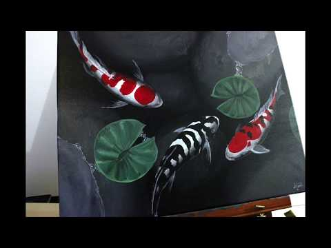 How to paint Koi fish - Acrylic on Canvas