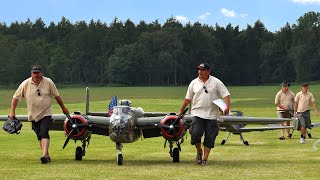 20ft. B-25 Together With Two Giant Messerschmitt Bf109 G