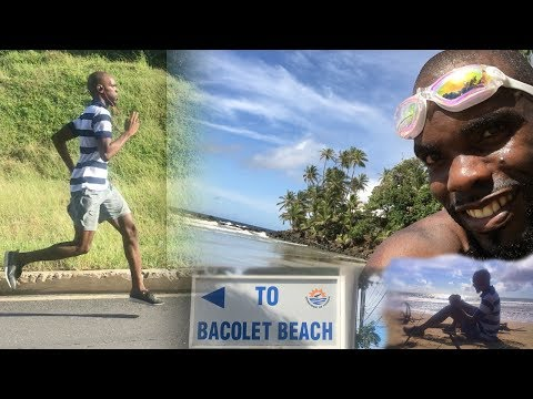 Kewl Runnings: A runner in the streets and a swimmer at the beach
