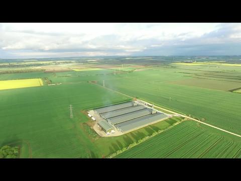 Lincolnshire Countryside Chicken Farm Foston  - UHD Drone