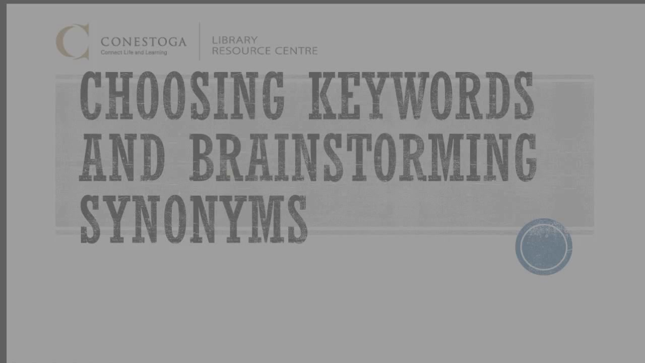 Archived preparing choosing keywords and brainstorming synonyms
