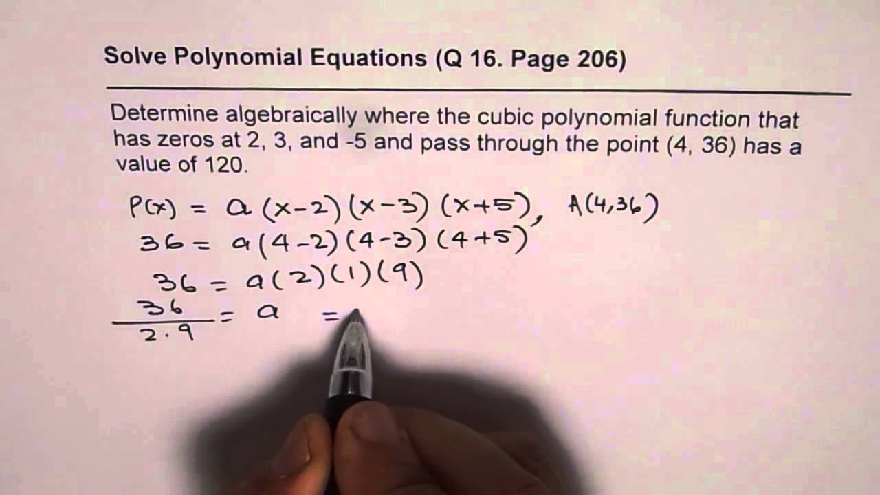 how to find the a value of a polynomial function