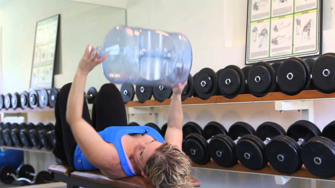 Chest Press With a Five-Gallon Water Jug : Yoga Body-Mind Workout