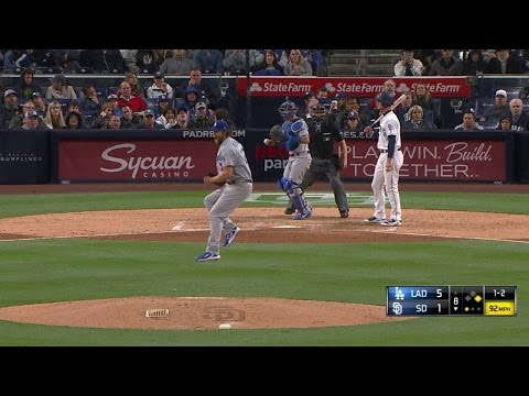 LAD@SD: Kershaw disagrees with umpire's call