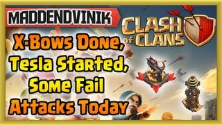 Clash of Clans - X-Bows Finished, Tesla Started, Some Fail Attacks Today (Gameplay Commentary)