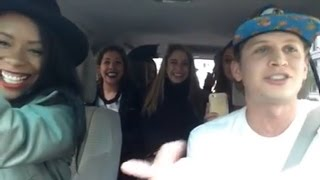Uber driver raps for car full of babes. WATCH THIS.