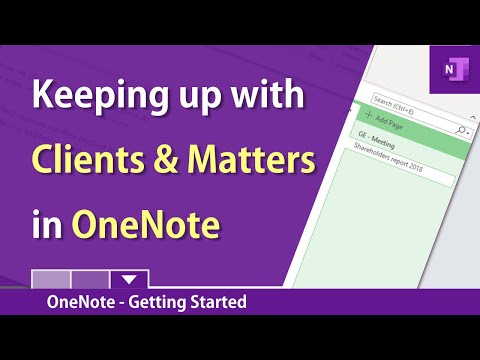 OneNote - Overview for Clients and Matters
