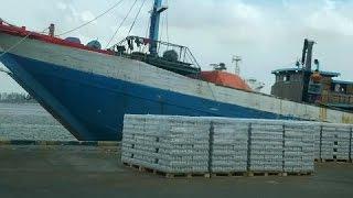 Wooden Cargo ships loading at Johor Port, Malaysia