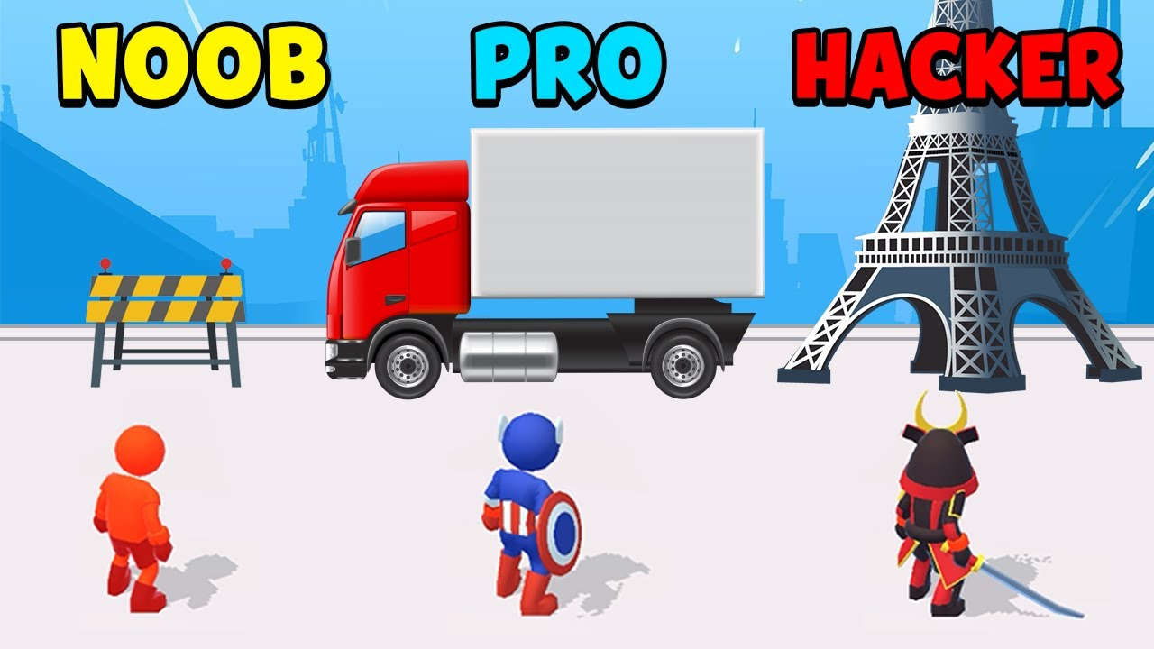 NOOB vs PRO vs HACKER – Parkour Race (Freerun Game)
