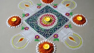 Diwali special - Diya rangoli design | Innovative rangoli designs by Poonam Borkar