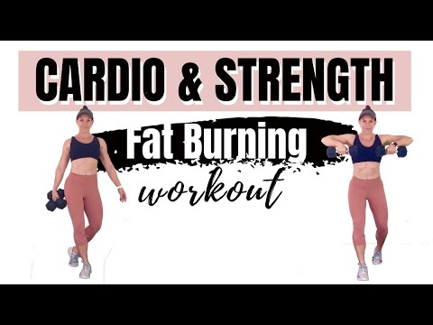 FAT BURNING CARDIO & STRENGTH HIIT WITH WEIGHTS 60 Minute Dumbbell Workout At Home