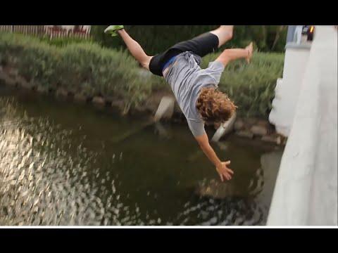 Skater Falls Off Bridge!!