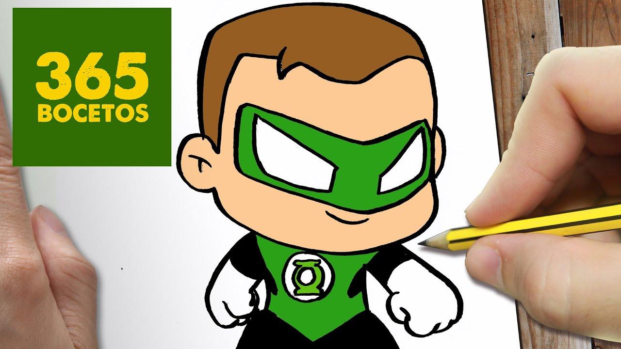Como Dibujar Linterna Verde Kawaii Paso A Paso Dibujos Kawaii Faciles Green Lantern