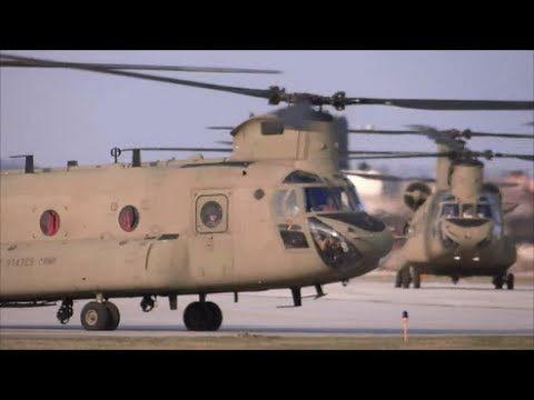 Five CH-47F Chinooks Take Off From Cleveland