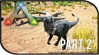 "ARK: Survival Evolved Gameplay Part 2 - ""OUR FIRST TAMED DINOSAUR!"" (Season 2)"
